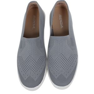 Grey Knitted White Rubber Sole Loafer Slip On
